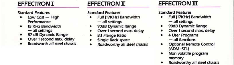 Effectron I - II - III features