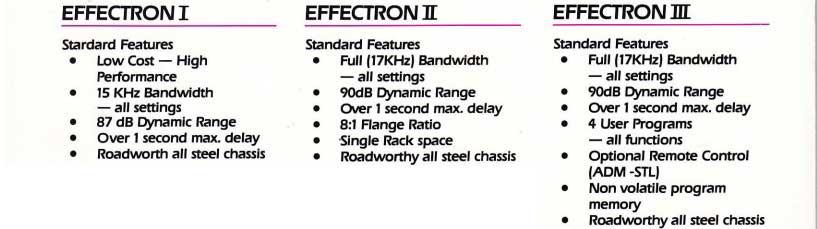Effectron I - II - III features